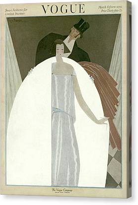 A Vogue Magazine Cover Of A Wealthy Man And Woman Canvas Print by Georges Lepape