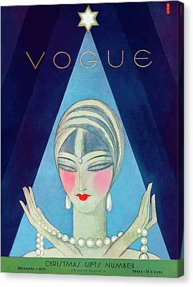 Pearl Necklace Canvas Print - A Vogue Magazine Cover Of A Wealthy Woman by Eduardo Garcia Benito