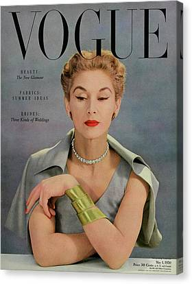 A Vogue Magazine Cover Of Lisa Fonssagrives Canvas Print by John Rawlings
