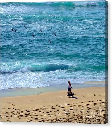 A Walk Along The Beach By Kaye Menner Canvas Print by Kaye Menner