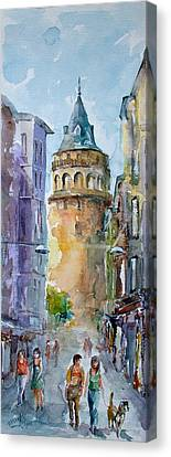 Canvas Print featuring the painting A Walk Around Galata Tower - Istanbul by Faruk Koksal