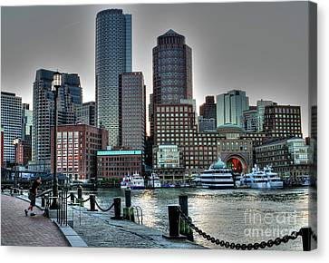 Canvas Print featuring the photograph A Walk At The Harbor by Adrian LaRoque