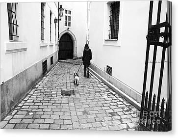 A Walk In Prague Canvas Print by John Rizzuto