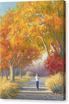 New England Autumn Canvas Print - A Walk In The Fall by Lucie Bilodeau