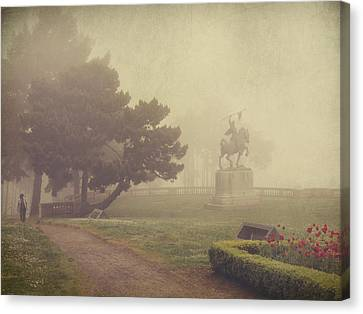 A Walk In The Fog Canvas Print by Laurie Search