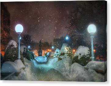 A Walk In The Snow - Boston Public Garden Canvas Print