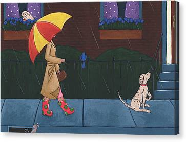 A Walk On A Rainy Day Canvas Print by Christy Beckwith