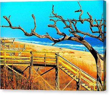 A Walk On Atlantic Beach Canvas Print by Mj Carbo