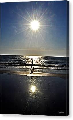 A Walk On The Beach Canvas Print by George Bostian