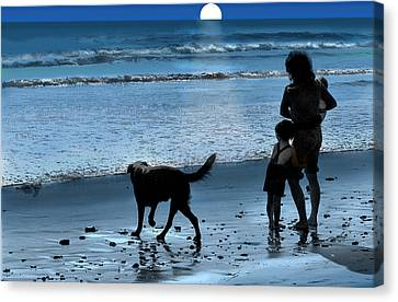 Canvas Print featuring the photograph A Walk On The Beach by Mike Flynn