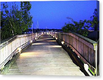 A Walk On The Pier Canvas Print by Judy Palkimas