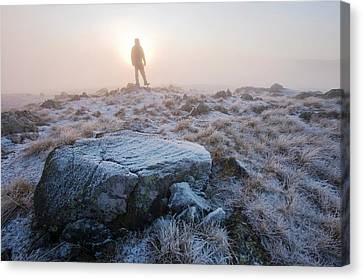 Inversion Canvas Print - A Walker On The Summit Of Caudale Moor by Ashley Cooper