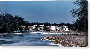 A Waterfront Christmas Canvas Print by Skip Willits