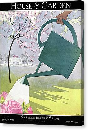 Cherry Trees Canvas Print - A Watering Can Above Pink Roses by Andre E Marty