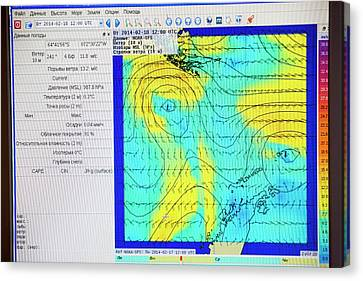 A Weather Readout For The Drake Passage Canvas Print by Ashley Cooper