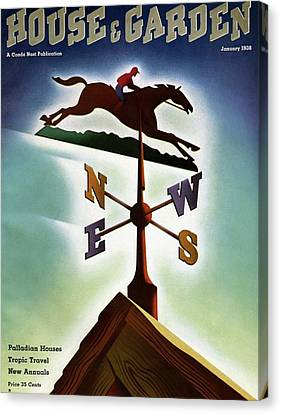 A Weathervane With A Racehorse Canvas Print