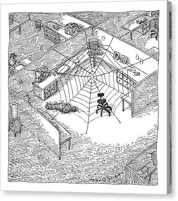A Web Has Entangled A Man At His Cubicle Canvas Print by John O'Brien