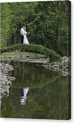 Canvas Print featuring the photograph A Wedding In The Park by Judy  Johnson