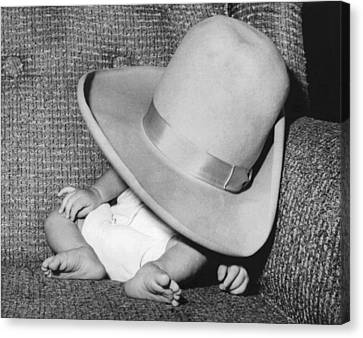 Catnap Canvas Print - A Wee Weary Cowpoke by Underwood Archives
