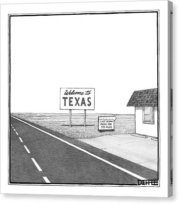A Welcome Sign To Texas Is Seen Next Canvas Print by Matthew Diffee