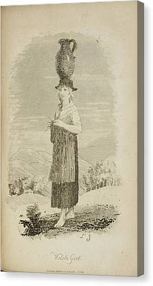 A Welsh Girl With Jug On Her Head Canvas Print by British Library