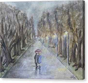 A Wet Evening Stroll Canvas Print by Kelly Mills