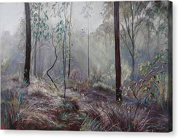 A Wickham Misty Morning Canvas Print by Lynda Robinson