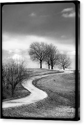 A Winding Country Road In Black And White Canvas Print