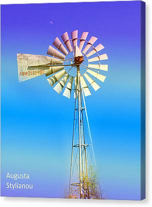 Turquois Water Canvas Print - Famagusta Windmill by Augusta Stylianou