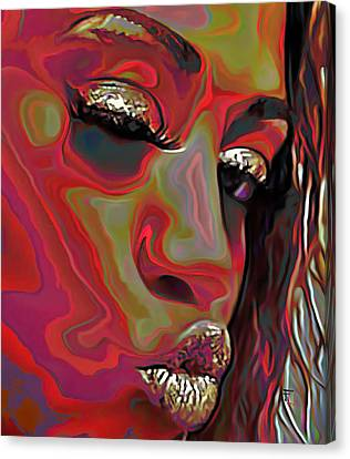 Designs On Face Canvas Print - A Wink And A Kiss by  Fli Art