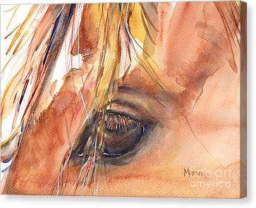 Chestnut Horse Canvas Print - Horse Eye Painting A Wink Of The Eye by Maria's Watercolor