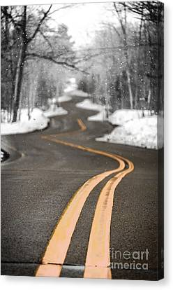 A Winter Drive Over A Winding Road Canvas Print