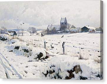 A Winter Landscape Holmstrup Canvas Print by Peder Monsted