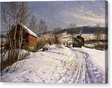A Winter Landscape Lillehammer Canvas Print by Peder Monsted