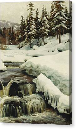 A Winter Landscape With A Mountain Torrent Canvas Print by Peder Monsted
