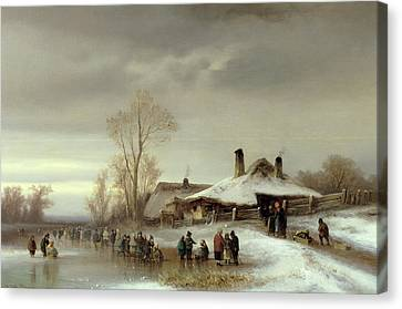 A Winter Landscape With Skaters Canvas Print by Anton Doll