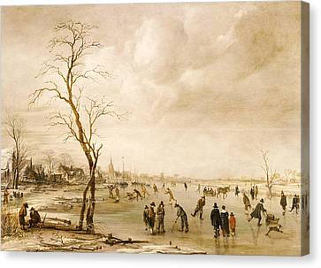 A Winter Landscape With Townsfolk Skating And Playing Kolf On A Frozen River Canvas Print by Aert van der Neer