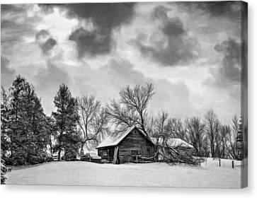 A Winter Sky - Paint Bw Canvas Print