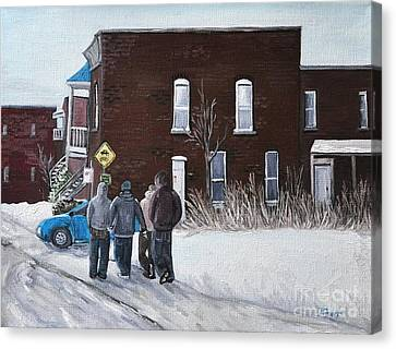 A Winter Walk In Montreal Canvas Print by Reb Frost