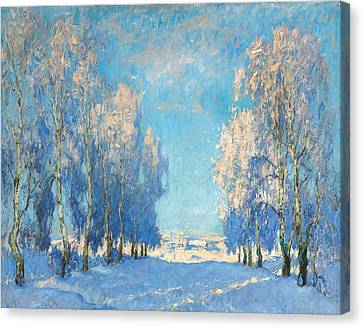 A Winter's Day Canvas Print by Konstantin Ivanovich Gorbatov
