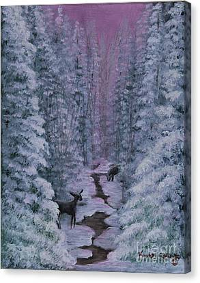 Canvas Print featuring the painting A Winters Journey by Kristi Roberts