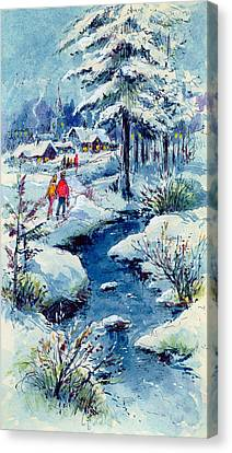 A Winters Scene Canvas Print by Stanley Cooke