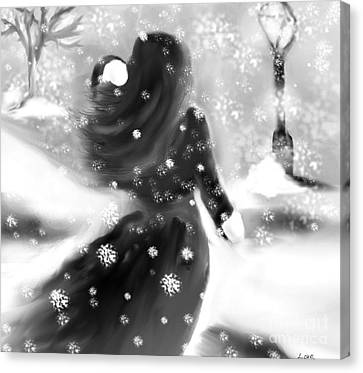 Canvas Print featuring the drawing A Winters Walk by Lori  Lovetere
