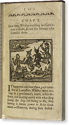A Witch And Demon Flying On Broomsticks Canvas Print by British Library