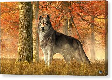 A Wolf In Autumn Canvas Print