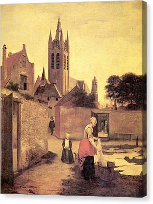 A Woman And A Child On A Bleichwiese Canvas Print