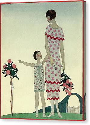 A Woman And A Little Girl Canvas Print by Andr? E.  Marty