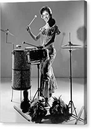 Drummer Canvas Print - A Woman Calypso Percussionist by Underwood Archives