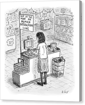 A Woman Checks Out Her Groceries At The Line Canvas Print by Roz Chast