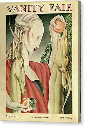 A Woman Feeding Apples To A Deer Canvas Print